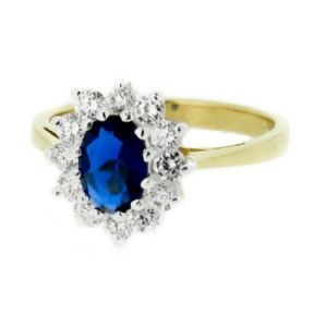 Vintage Gold Plated Dress Ring Sapphire Colour Stone 9899